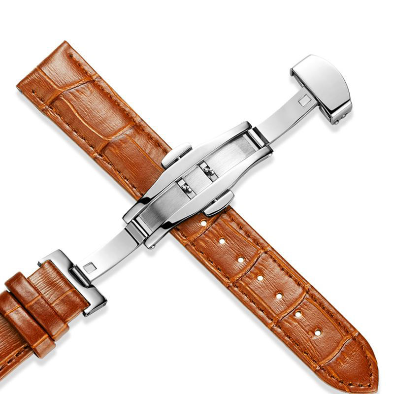 Genuine Leather Watchband Butterfly clasp Watch Band Strap for Casio IWC Breguet 14mm 16mm 18mm 20mm 22mm 24mm