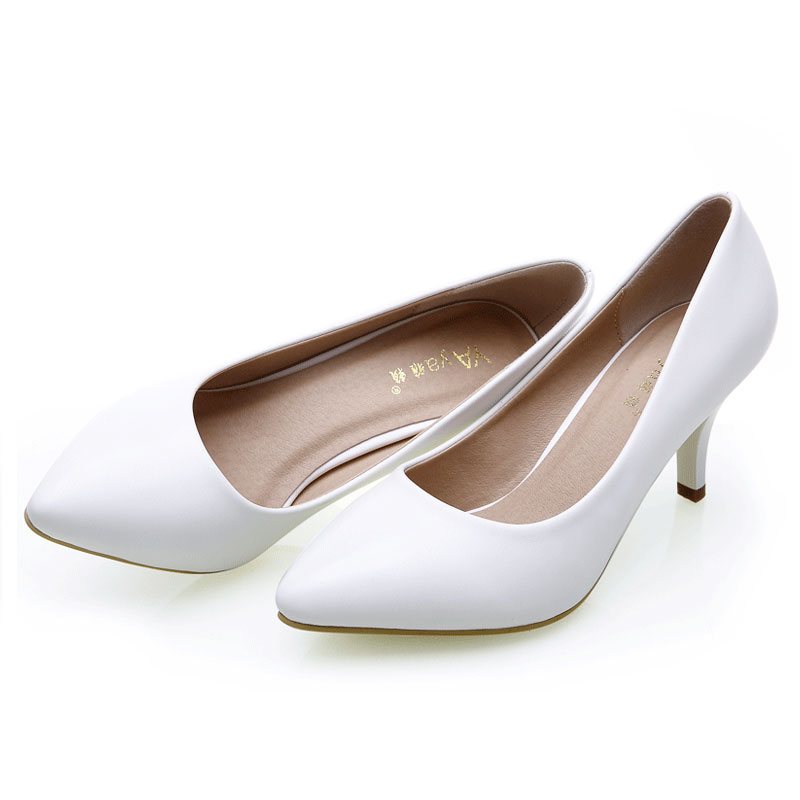 Fashion White Women Shoes For Girls Women Whiteblack High Heel Pump Shoes Pointed Toe -5896