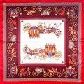 100% Bufanda de Seda Bufanda de Las Mujeres Horse Carriage Bufanda de Seda Pañuelo 2017 Top Print Animal Pequeño Cuadrado de Seda Bufanda Caliente de la Señora de Lujo de Regalo