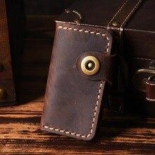 Luxury Handmade Key holder men Genuine Leather key wallet keychain housekeeper women smart case organizer