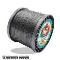 DAOUD 12 Strands Weaves 1000m Super Strong Braided Fishing Line 8 Colors Braid PE Wire Carp Fishing Line 35 180LB