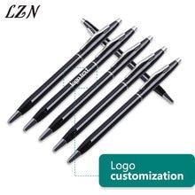 Lzn livre gravado logotipo/texto para a promoção mais novo estilo clipe de prata metal caneta esferográfica canetas empresa negócio publicidade caneta