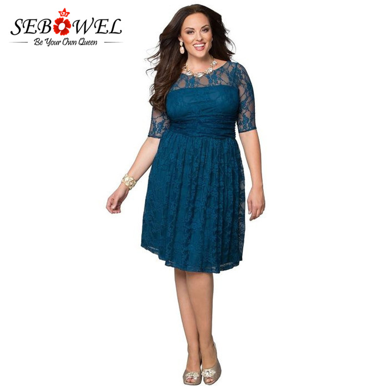 SEBOWEL 2018 Pleated Blue Bridesmaid Lace Dress Knee Length Short Party  Dress Elegant Casual Tunic A Line Plus Size Skater Dress c82d4e982e3b