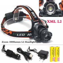 SZ16 headlamp light 3800lumen L2 U2 LED Zoom Zoomable Waterproof Headlamp Headlight Head lamp Light Use the18650 Battery Charger