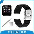 24mm caucho de silicona watch band para el sony smartwatch 2 sw2 correa de reemplazo de la correa de pulsera con cierre de hebilla de acero inoxidable
