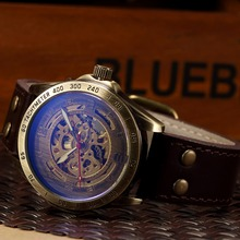 Mechanical Automatic Men Watch with Leather Strap