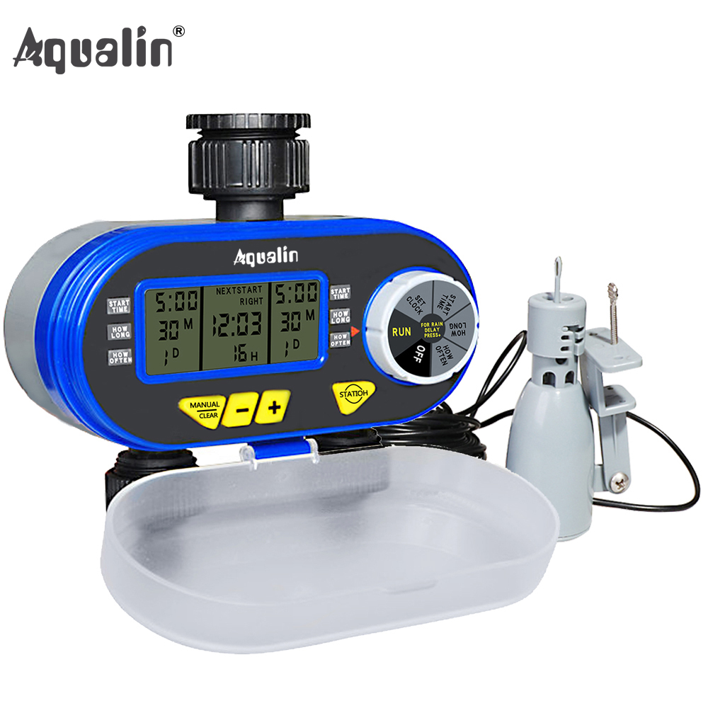 Two Outlet Garden Digital Automatic  Water Timer Solenoid Valve Garden Watering Timer 21060 and Rain Sensor 21103#21060R
