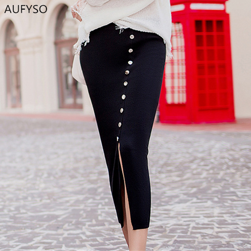 8d420dd382e Knit Long Skirt Women 2018 Autumn Korean Style Vintage Single Breasted  Split High Waist Bodycon Pencil Skirt saia longa B203-in Skirts from Women s  Clothing ...