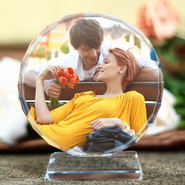 Customized Round Shape Crystal Glass Photo Frame Personalized Picture Frame Photo Album For Birthday Friends Gifts Home Decor