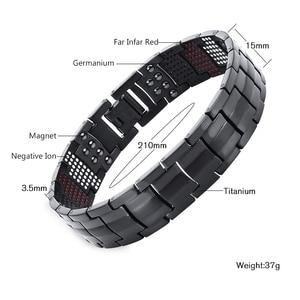 Image 2 - Escalus Mens Black Pure Titanium Magnetic Bracelet For Men 4in1 Magnets Negative Ions Germanium Health Bracelets jewelry