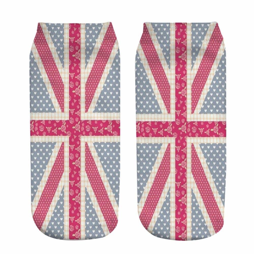 2018 British flag Print type 3D Socks for Men Women teenager Socks female short sock birthday gift size 34-44 19cm