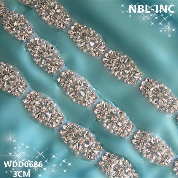 (10 yardas) venta al por mayor de hierro en mano con cuentas de cristal de plata de imitación de diamantes de imitación para la boda Vestido faja cinturón WDD0686-in Diamante de imitación from Hogar y Mascotas    1