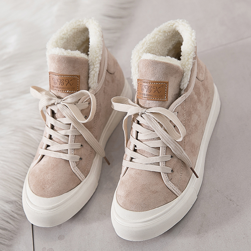 Moxxy New Snow Boots High Top Sneakers Vulcanized Shoes Women Warm Winter Shoes  Sneakers Women Platform Flat Winter Casual Shoes-in Women s Vulcanize Shoes  ... 02ea6742d635