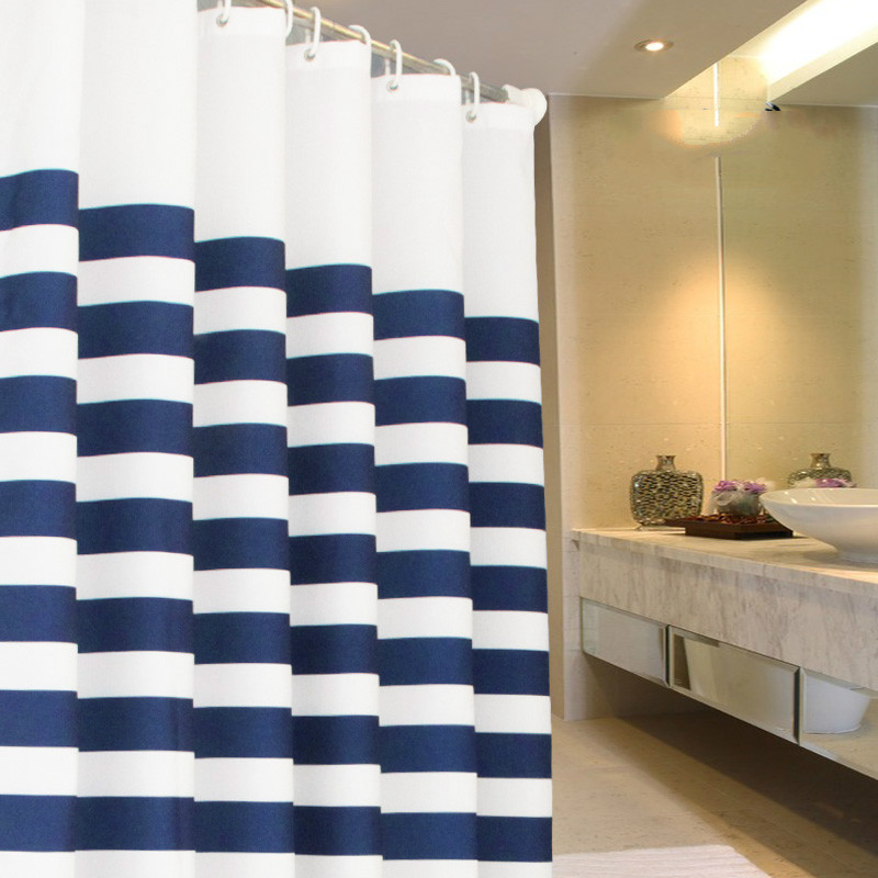 ZHH Modern Style Navy European Classic Blue And White Waterproof Mildew Bathroom Curtain Stripes Shower
