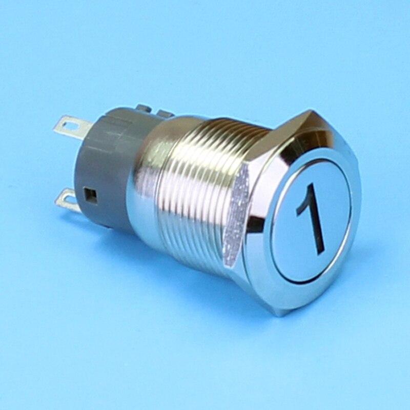 ABBEYCON latching IP67 19mm flat head button switch <font><b>1V</b></font>~220V blue <font><b>led</b></font> &#8220;1&#8221;logo illuminated Customized logo switch