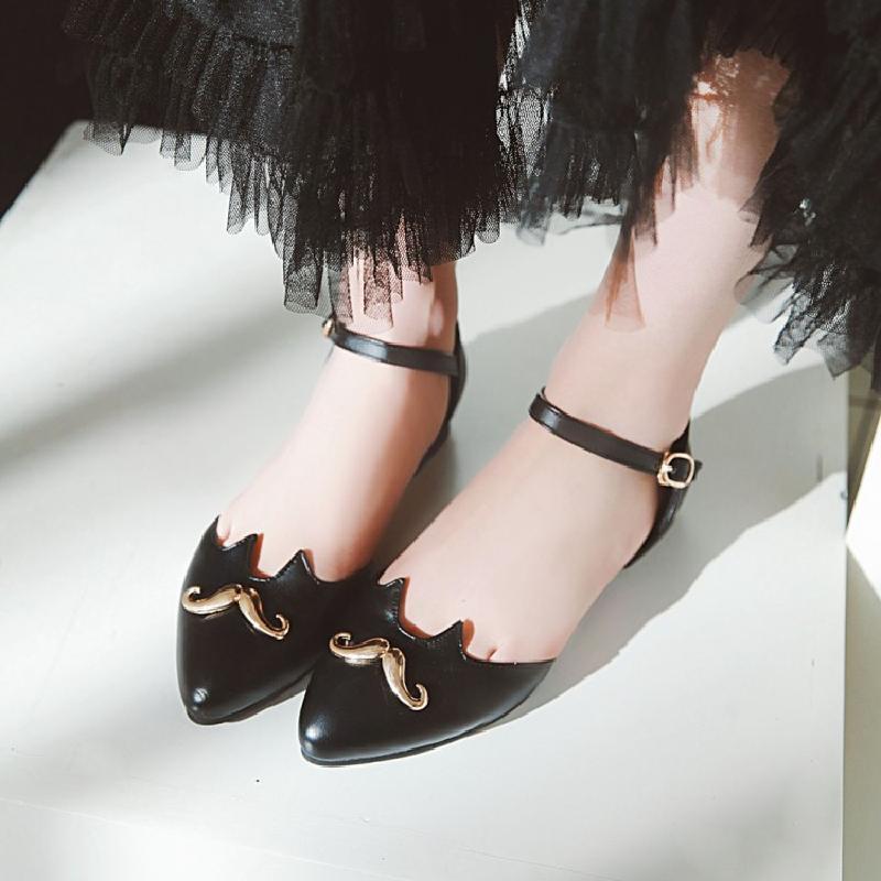 Shoes Chaussures Doux Shoes Grande Mode Automne Printemps Appartements Plat Femmes Zuoxiangru Casual pink Pointu Blanc Bout Boucle white Black Shoes Noir Taille Rose dorexBC