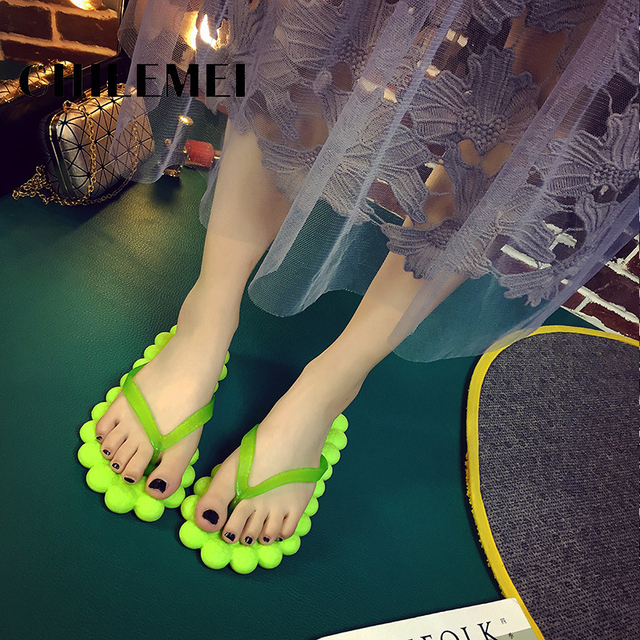 b4a5b00c0 New woman slipper creative massage flip flop bath room slipper flat ball  shape ladies shoes summer female shoes foldable soft