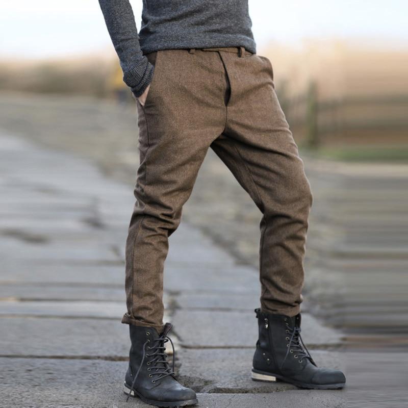 2017 molla nuovi uomini casuali pantaloni da uomo pantaloni Slim fit di lana degli uomini di pantaloni casual da uomo vestito sottile pantaloni patalones hombres