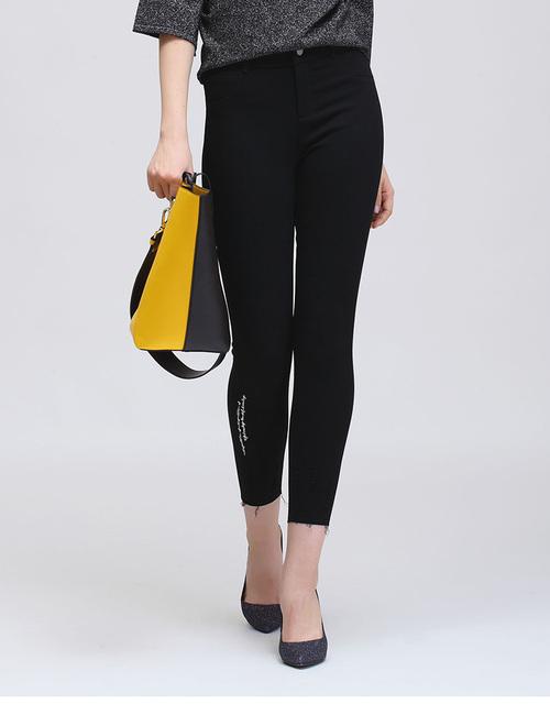 Spring New Letters Print Fashion Raw Edges Elastic Waist Black Trousers Women Jeans
