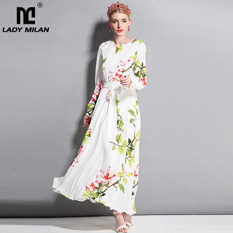 New Arrival Womens O Neck Long Sleeves Floral Printed Sash Belt Elegant Maxi Designer Runway Casual Dresses