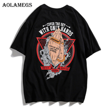 Aolamegs T Shirt Men Hands Print Men's Tee Shirts Short Sleeve O-neck T Shirt Cotton Fashion High Street Tees Summer Streetwear oupushi ks812b wifi ceiling speakers active horn wall speakers trumpetto home theater pa system family background music system