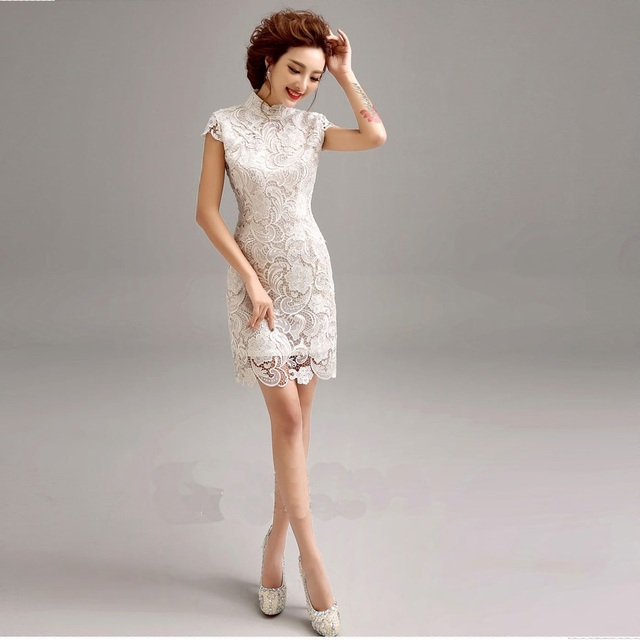 Women White Lace Short Qipao Dreeses Y Elegant Modern Dress Plus Size Xl Oriental Chinese