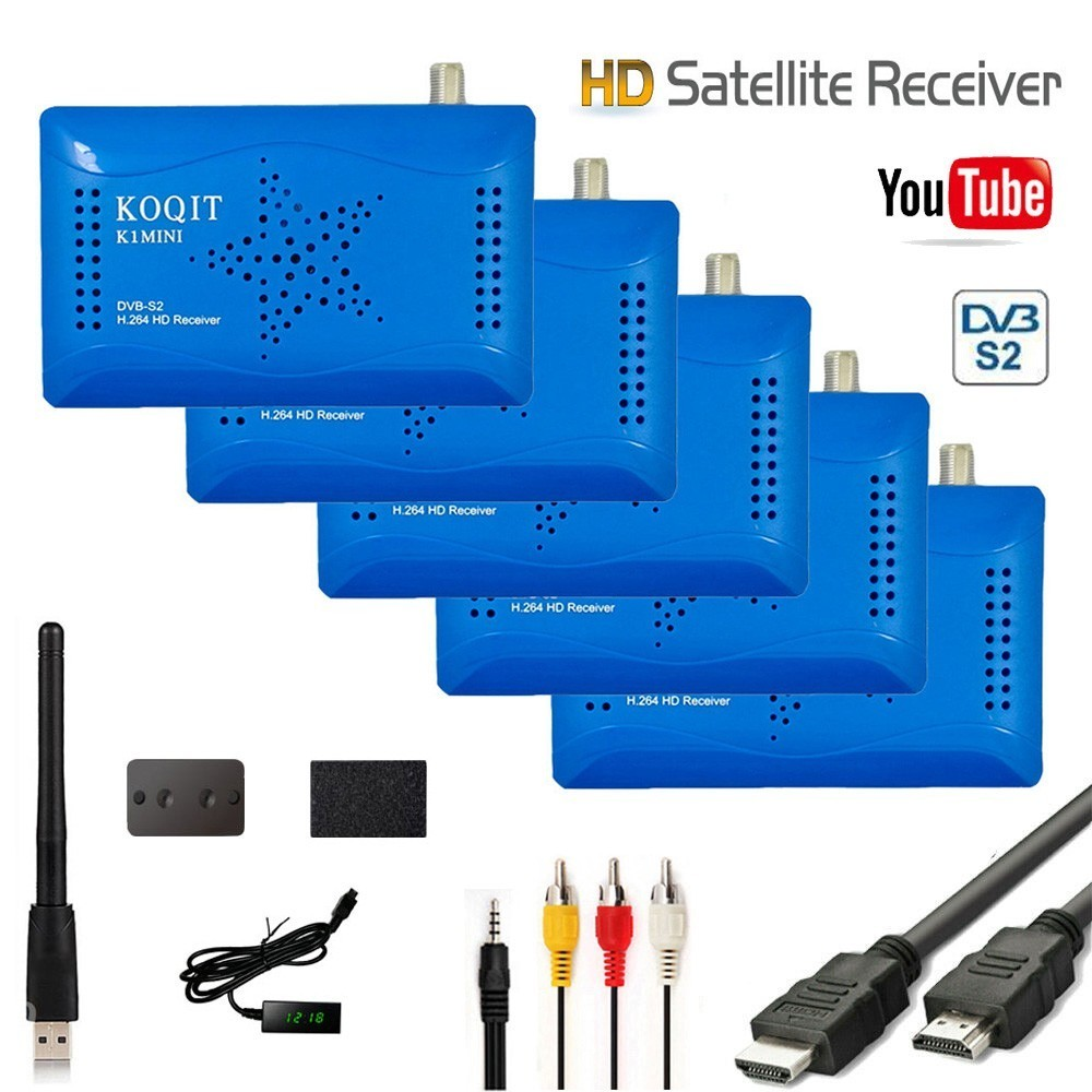 Koqit gratuit Internet Satellite récepteur TV Tuner DVB-S2 récepteur numérique TV boîte décodeur USB Wifi Youtube vu Biss clé PVR LED IR