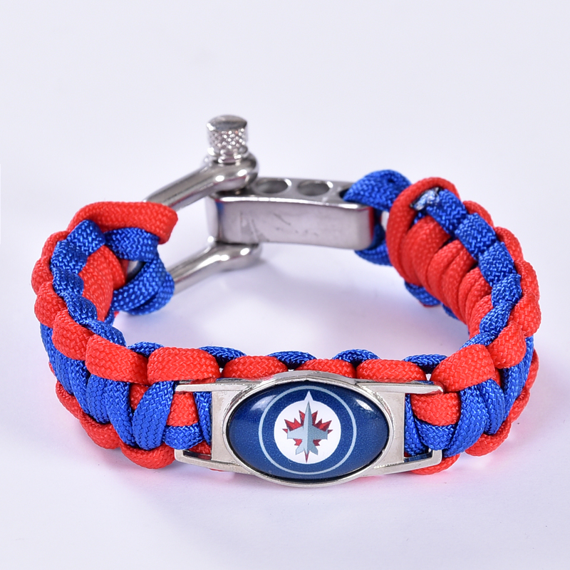 Winnipeg Jets Custom Paracord Bracelet NHL Team Hockey Bracelet Survival Bracelet, Drop Shipping! 6Pcs/lot!
