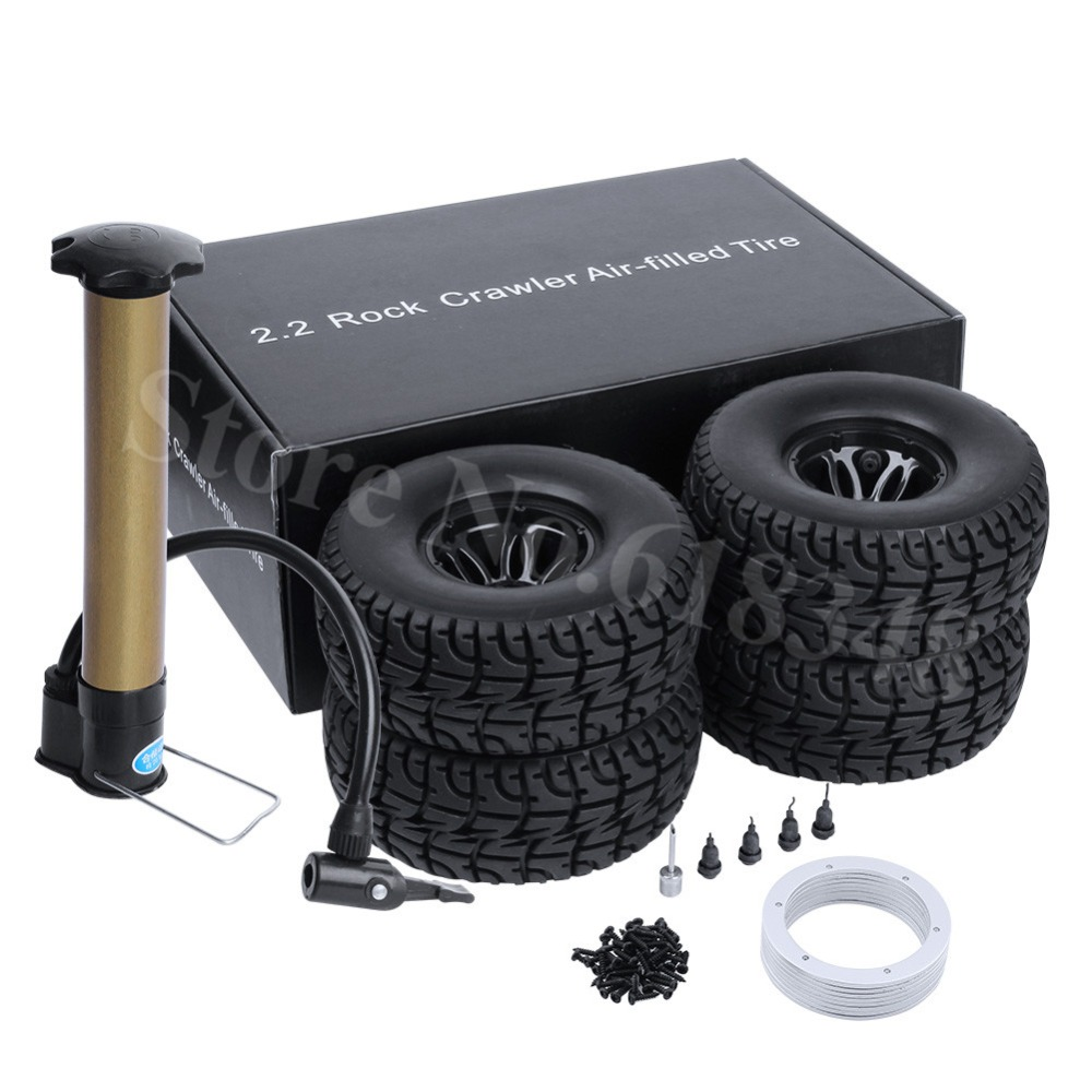 4PCS 2.2 Air Inflated Beadlock Wheel Rims & Tires OD:130mm with Inflator Pump for 1/10 Scale RC Rock Crawler Monster Truck 1 10 inflatable tires 4p set air pneumatictires with alloy beadlock wheels set f rc crawler rock crawler tires toy cars parts