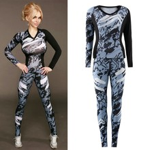 2017 Spring Summer Newest Fashion Women Casual Long Sleeve Fitness Printed Comfort Personality Ladies T Shirt+Trouser