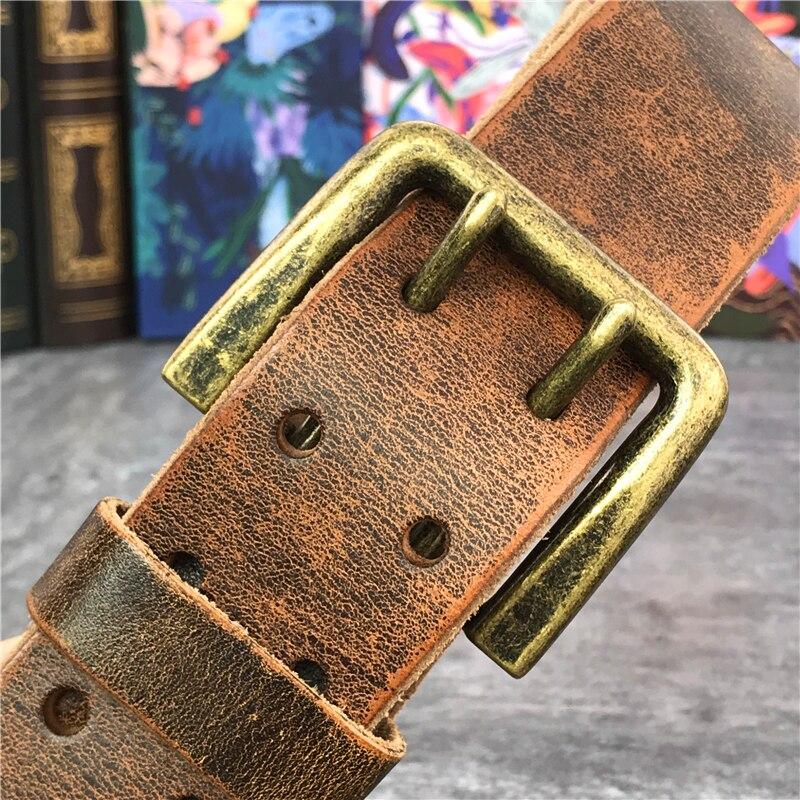 130 CM-138 CM cinturón largo de cuero grueso de lujo cinturón de hombre ancho 4,3 CM doble hebilla Ceinture Jeans cintura cinturón amarillo MBT0018 - 6