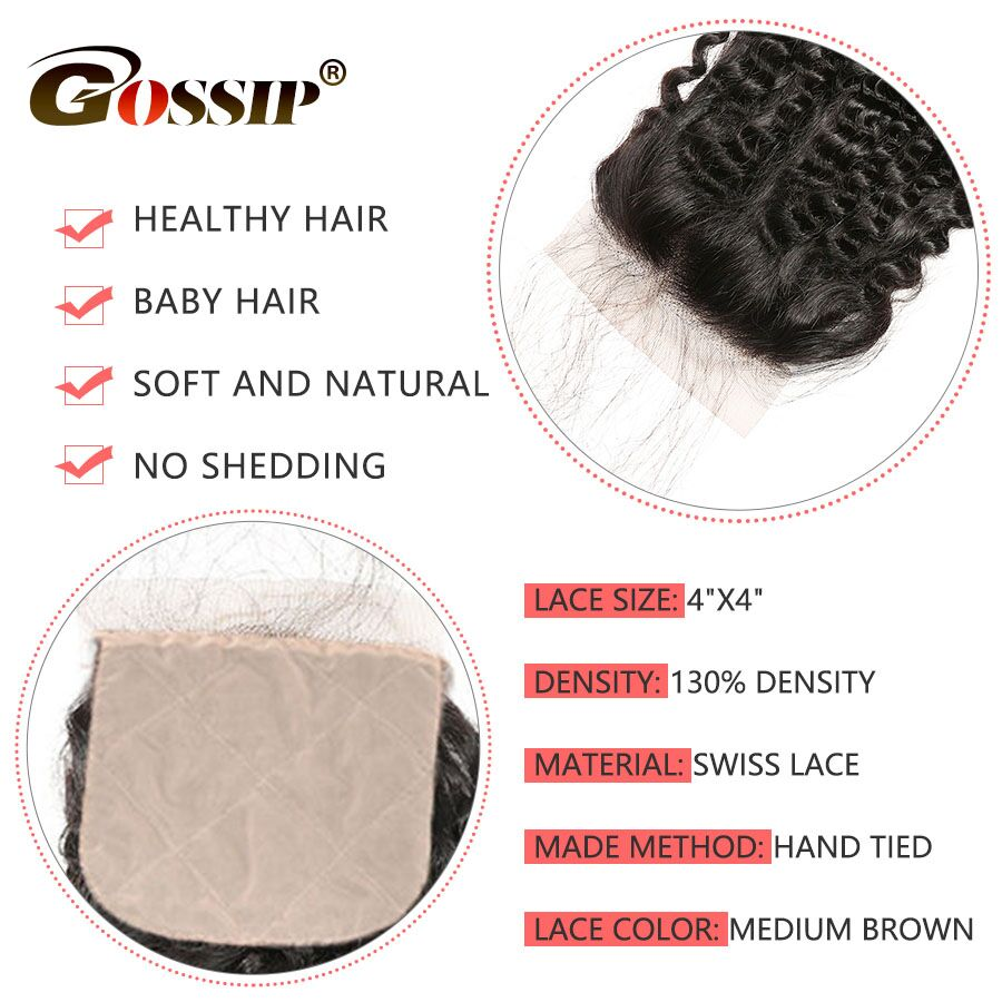 Image 2 - Kinky Curly Closure 4x4 Silk Base Closure With Baby Hair Human Hair Brazilian Closure Pre Plucked Gossip Remy Hair Extension-in Closures from Hair Extensions & Wigs