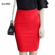 Женские юбки-карандаш, модные элегантные сексуальные юбки с высокой талией, зимние Облегающие юбки для офисных леди, эластичные юбки для официальных мероприятий, красные юбки размера плюс