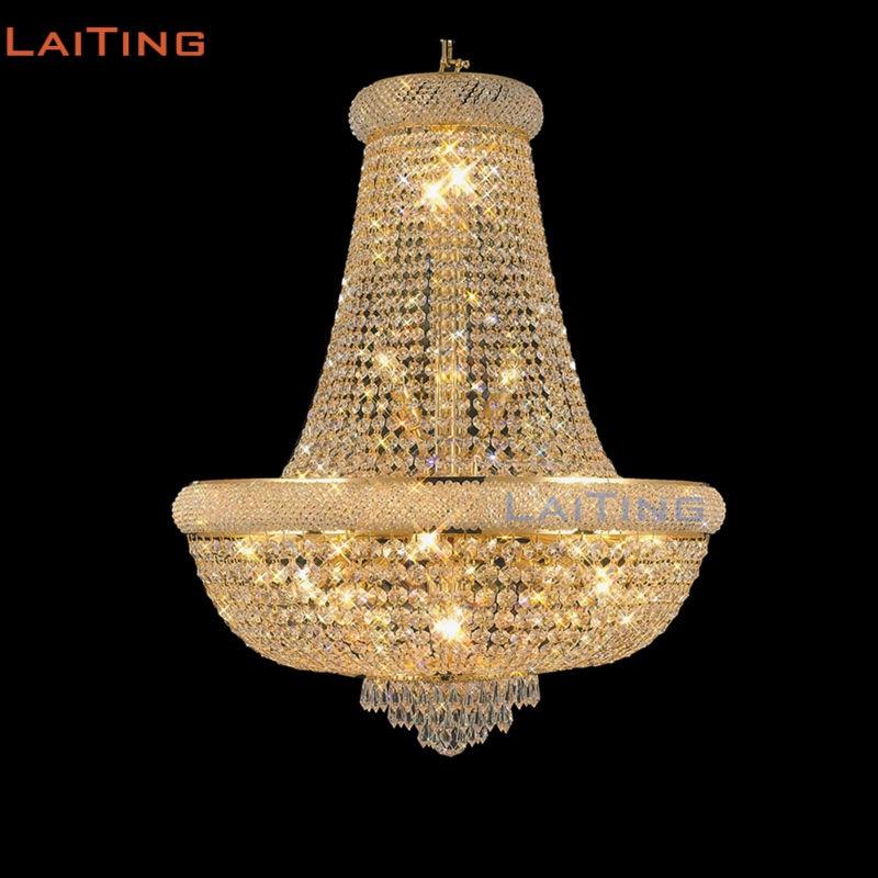 Dia 50 cm classique or luxe lustres en cristal avec des cristaux K9 élégants pour la décoration de tente de mariage + livraison gratuite