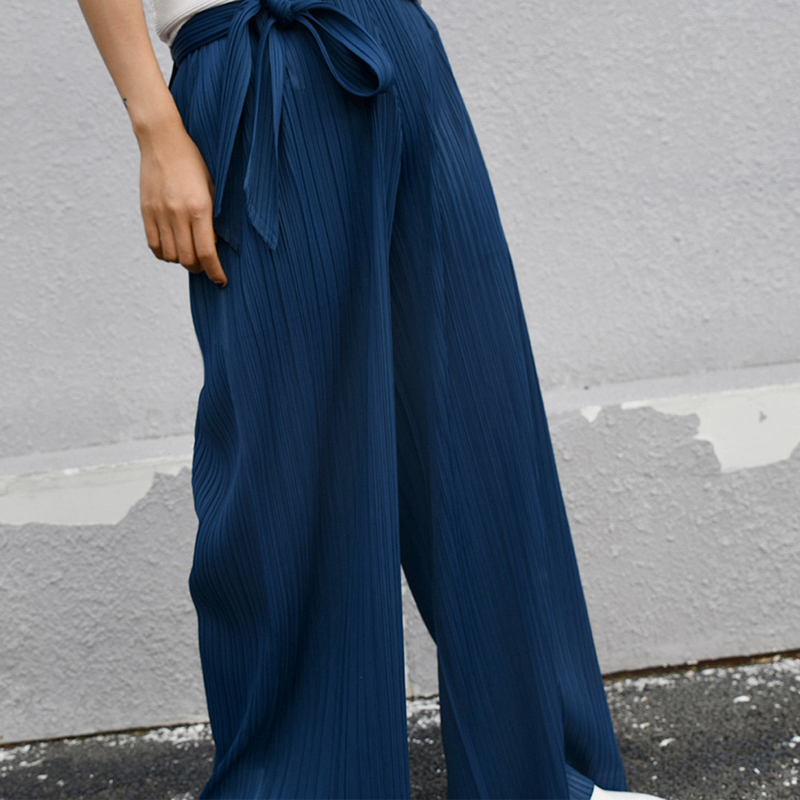 Changpleat 2019 Spring New designer Women   Wide     leg     pants   Miyak Pleated Fashion Loose Large Size Belt Solid Female trousers Tide
