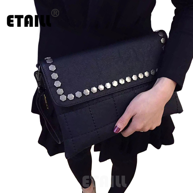 2017 Fashion Black Genuine leather Studded Clutch Bags High Quality Ladies Women Rivet Luxury Brand Designer Hand Bag Sac a Main