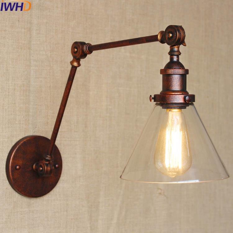 Angle Adjustable Sconce Retro Loft Wall Lamp Vintage Iron Bathroom wall Lights For Home  ...