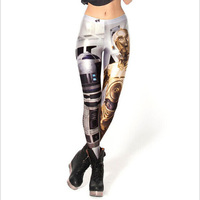 Women Ladies Pants Casual Sexy Style Black Milk Sky Printing Space Robot XXXL Large Size Ankle