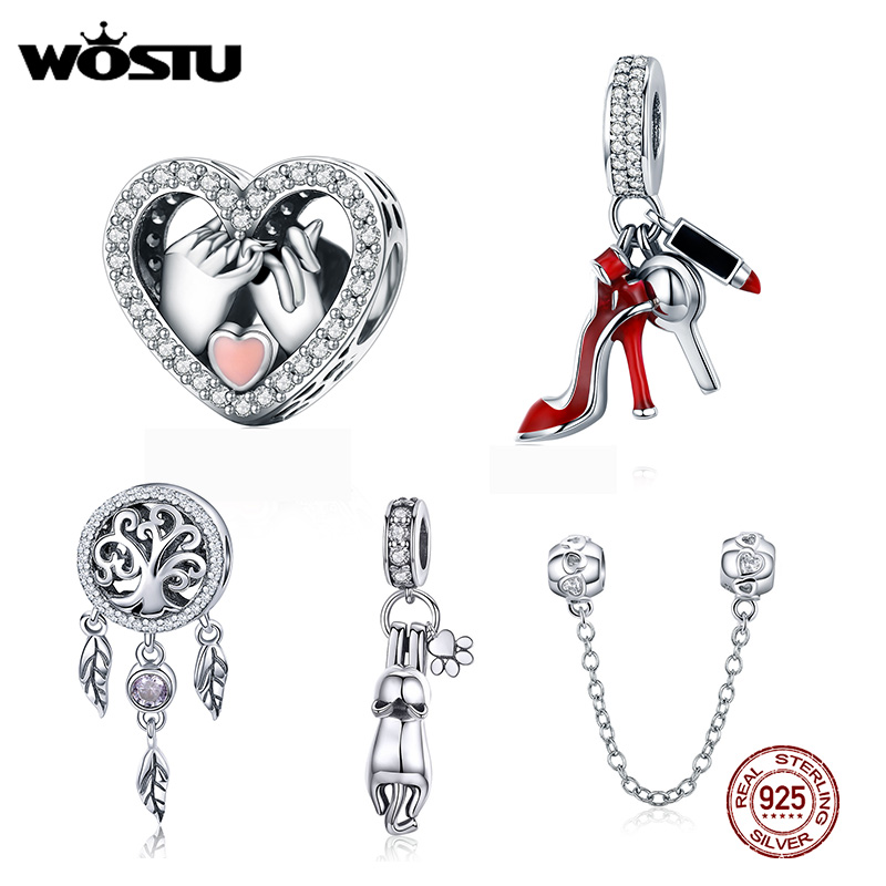 WOSTU Heart Charm Mirror Dreamcatcher-Beads Makeup-Pendant Jewelry-Making Copper-Zircon title=