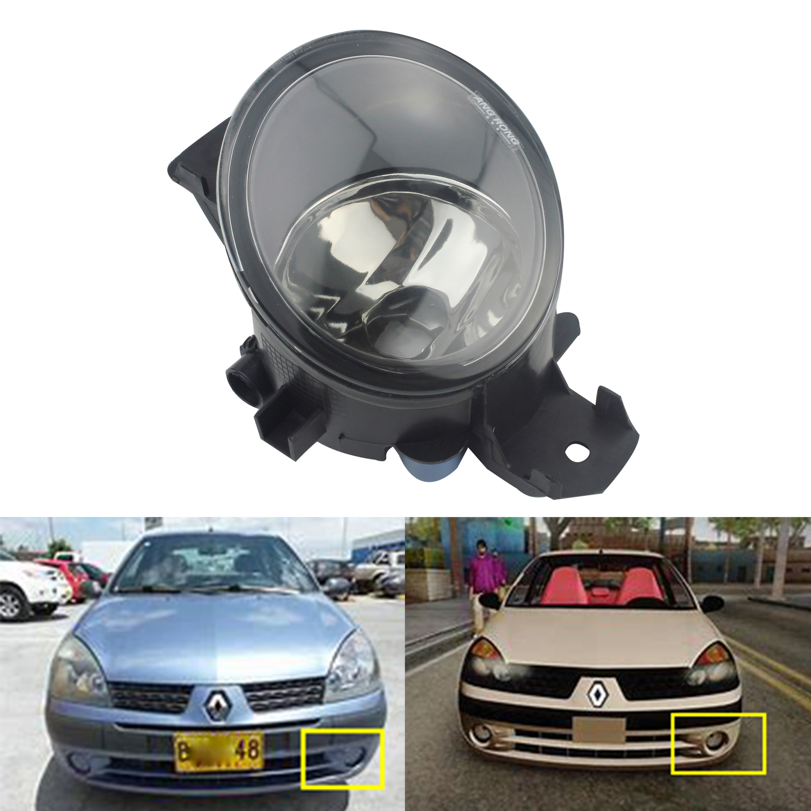 ANGRONG Front Fog Light N/S Left Passenger Near Side Without Bulb For Renault Clio 2001-2013