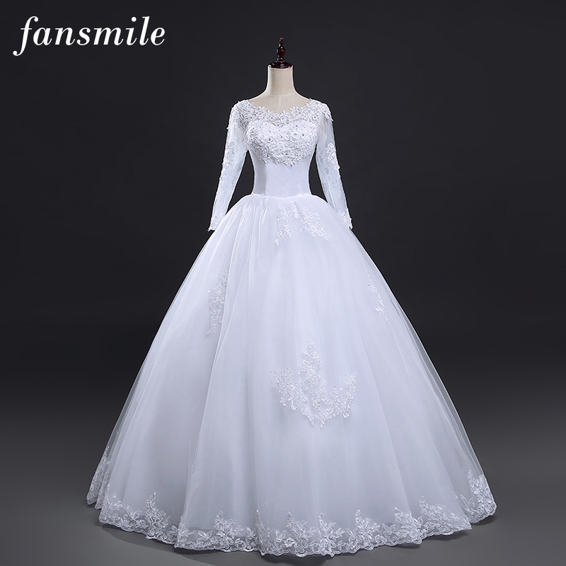 Fansmile Free Shipping Lace Wedding Dresses Long Sleeve 2019 Plus Size Vintage Belt Bridal Wedding Gowns