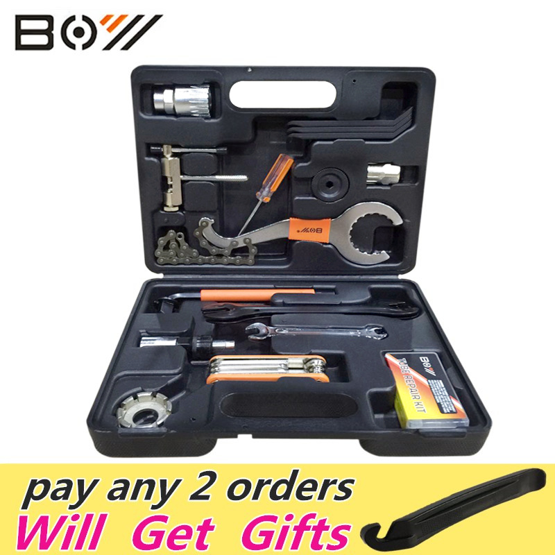 ФОТО Boy Universal Bicycle Repair Tools Set Kit Case Universal For Mountain Road Bicycle 44 in 1 set cycling Bike Tool