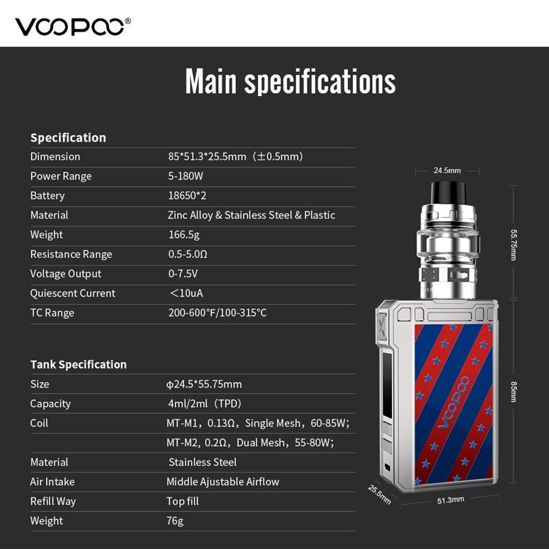 Originele Voopoo Alpha Zip Vape Kit 180W Maat Tank 4ml Mesh Coil GEN. fit Chip Aangedreven Door Dual 18650 Vape met MT M2 MT M1 Coil-in Kits voor e-sigaretten van Consumentenelektronica op  Groep 3