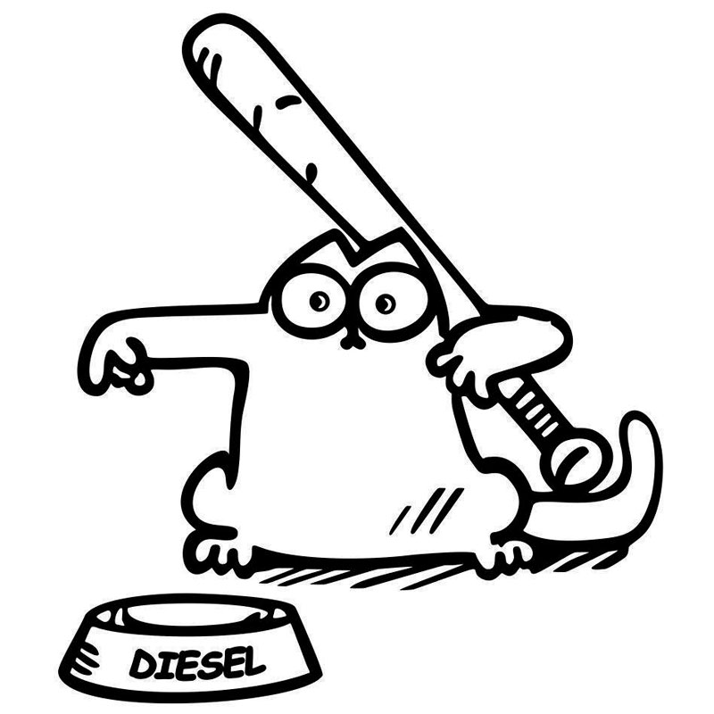 Funny Cartoon Cat Sticker On Car Fuel Cover