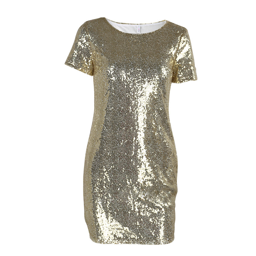 HTB14lNQchrI8KJjy0Fpq6z5hVXaO - Sequins Gold Dress Summer Women Sexy Short T Shirt Dress Evening Party Elegant Club Dresses