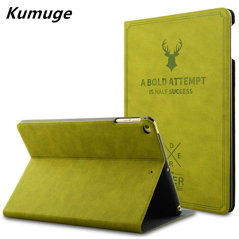 Retro Deer Pattern PU Leather Tablet Cover Case for for 2017 New iPad 9.7 Case Capa Para New iPad 2017 Model A1822 +Film +Pen case cover for goclever quantum 1010 lite 10 1 inch universal pu leather for new ipad 9 7 2017 cases center film pen kf492a
