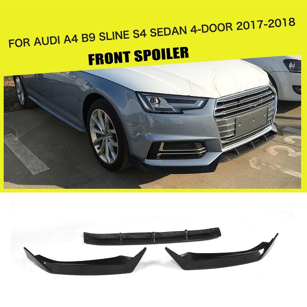 Carbon Fiber / FRP Car Front Lip Spoiler Bumper Protector for Audi A4 B9 SLINE S4 Sedan 4 Door 2017 2018 ML Style