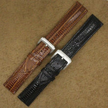 Replacement straps 20mm Watchband Strap Black Bracelet For Men Watches Luxury Brand Lizard grain leather silver