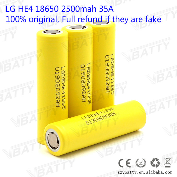 1pc/lot 100% Original 18650 BATTERY forlg HE4 2500Mah 3.7V 35A Rechargeble Battery fit e cig