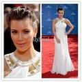 Sexy Kim Kardashian vestido tapete vermelho Emmy Awards branco Halter vestidos de celebridades vestidos formais